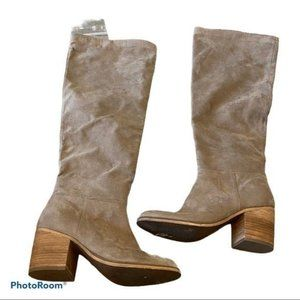 Abound Womens Tall Heeled Boots Tan Fabric Upper